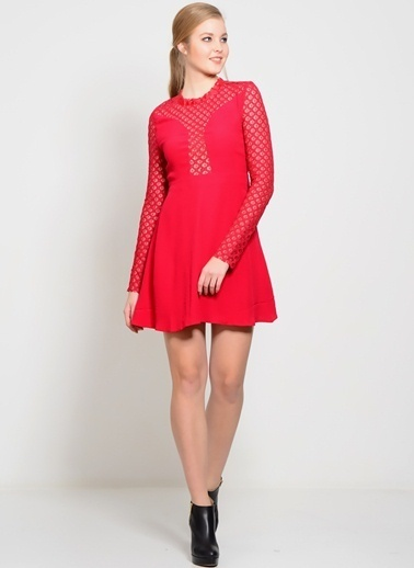 Foxiedox Dantelli Mini Elbise Kırmızı